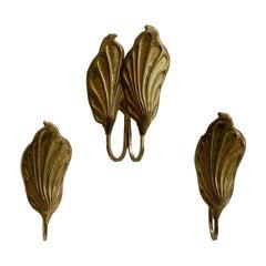 Tommaso Barbi for G & G Studio e Disegno Brass Leaf Sconces, Italy, 1970s