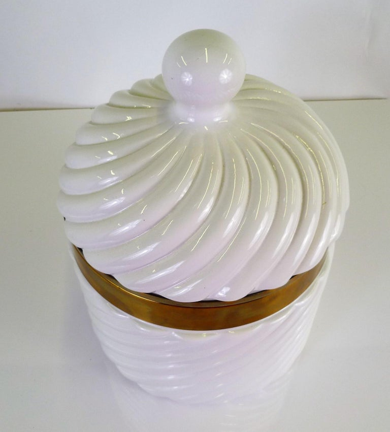 Italian Tommaso Barbi Iconic Rope Swirl Ice Bucket Vessel in White Ceramic and Brass For Sale