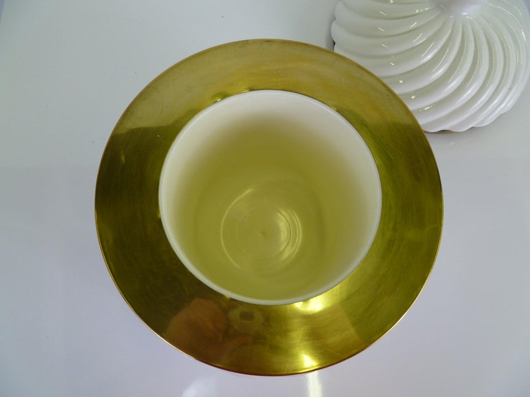 Mid-20th Century Tommaso Barbi Iconic Rope Swirl Ice Bucket Vessel in White Ceramic and Brass For Sale