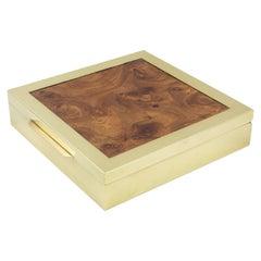 Tommaso Barbi Italy Brass and Burl Wood Box