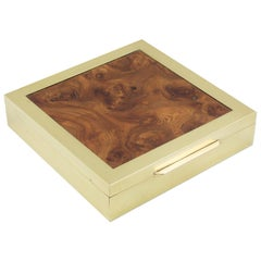 Tommaso Barbi Italy Brass Burl Wood Box