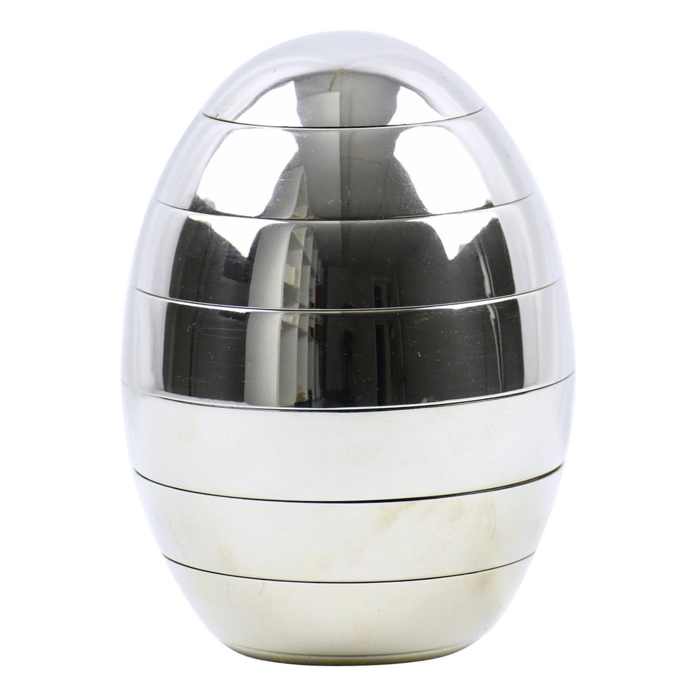 Tommaso Barbi Italy Chrome Stacked Tray Bowl Egg Box