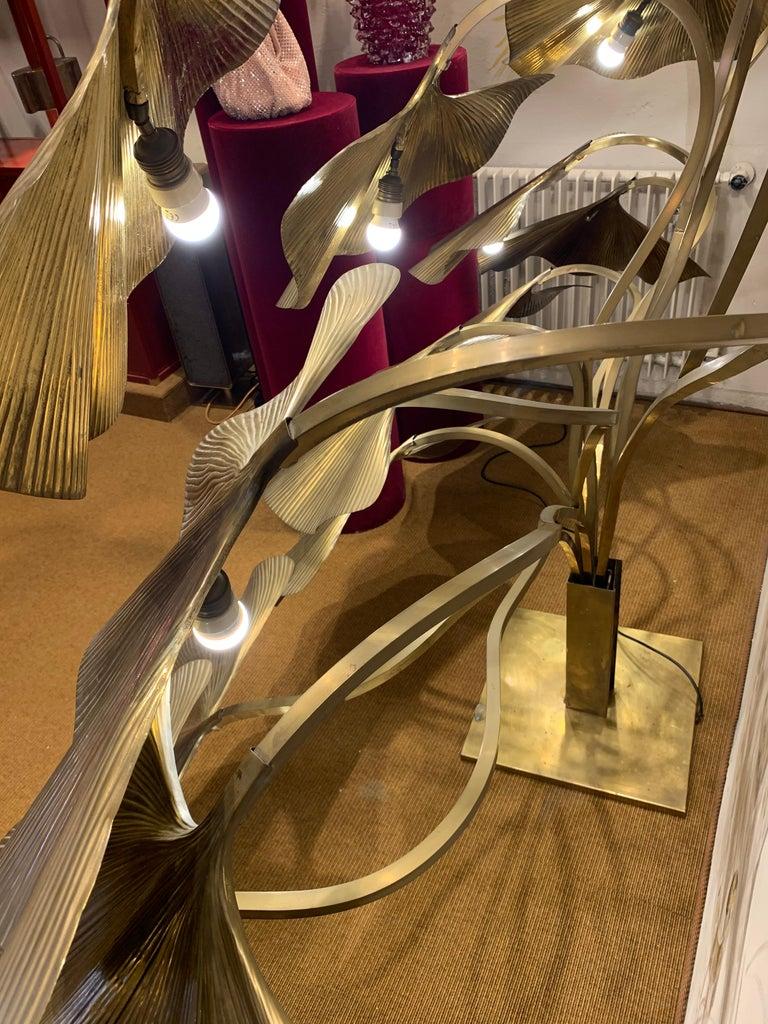 Tommaso Barbi Leaves Floor Lamp, Bottega Gadda Manufactured in 1970 circa, Brass For Sale 6