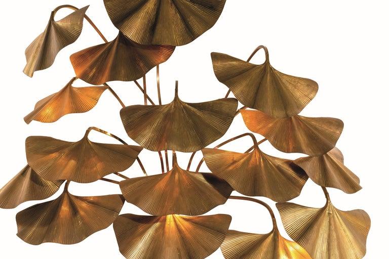 Mid-Century Modern Tommaso Barbi Leaves Floor Lamp, Bottega Gadda Manufactured in 1970 circa, Brass For Sale