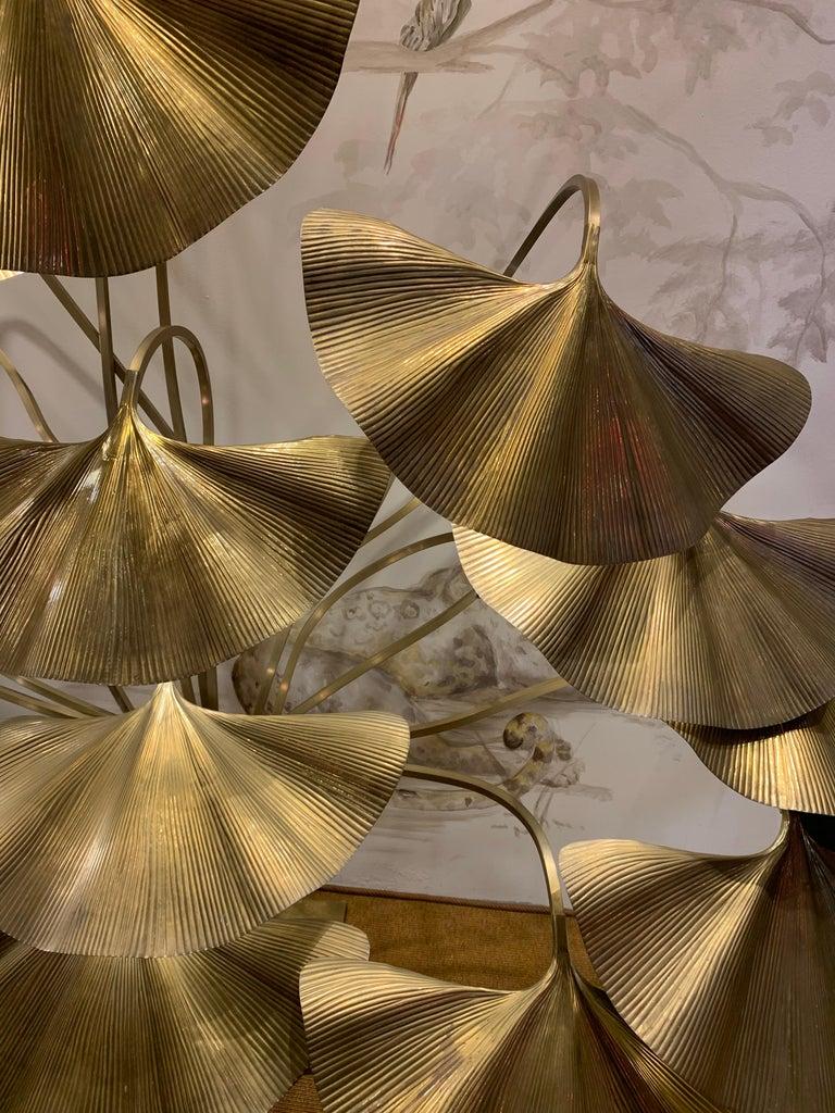 Italian Tommaso Barbi Leaves Floor Lamp, Bottega Gadda Manufactured in 1970 circa, Brass For Sale