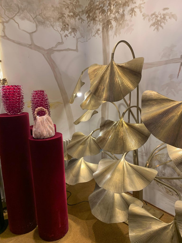 Tommaso Barbi Leaves Floor Lamp, Bottega Gadda Manufactured in 1970 circa, Brass For Sale 3