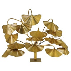 Tommaso Barbi Leaves Floor Lamp, Bottega Gadda Manufactured in 1970 circa, Brass