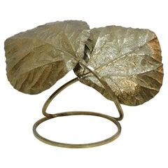 Tommaso Barbi Mid-Century Modern Italian Brass Leaves Shape Table Lamp