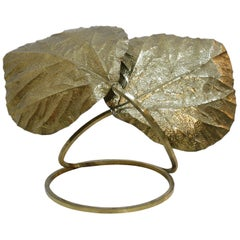 Tommaso Barbi Mid-Century Modern Italian Brass Leaves Shape Table Lamp