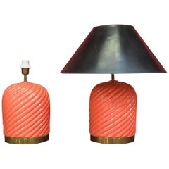 Tommaso Barbi Mid-Century Modern Italian Pair of Ceramic Table Lamps, circa 1970