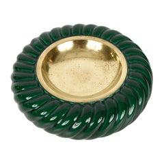 Tommaso Barbi Midcentury Green Ceramic and Brass Italian Ashtray, 1960s