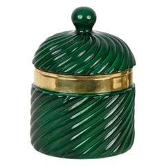 Tommaso Barbi Midcentury Green Ceramic and Brass Italian Ice Bucket, 1960s