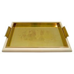 Tommaso Barbi Midcentury Italian Brass and Wood Tray, 1970s