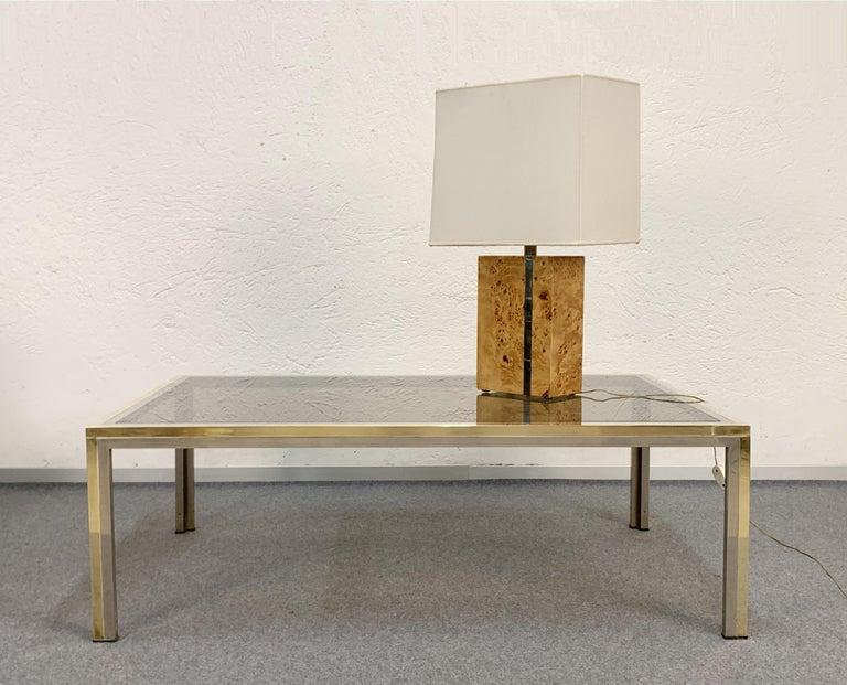 Tommaso Barbi Midcentury Poplar Briar and Chrome Italian Table Lamp, 1970s For Sale 9