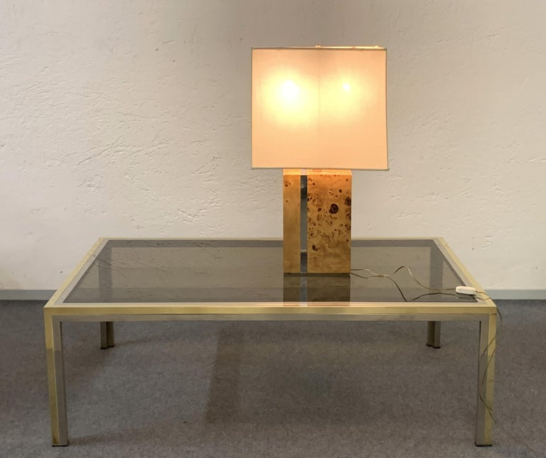 Tommaso Barbi Midcentury Poplar Briar and Chrome Italian Table Lamp, 1970s For Sale 10
