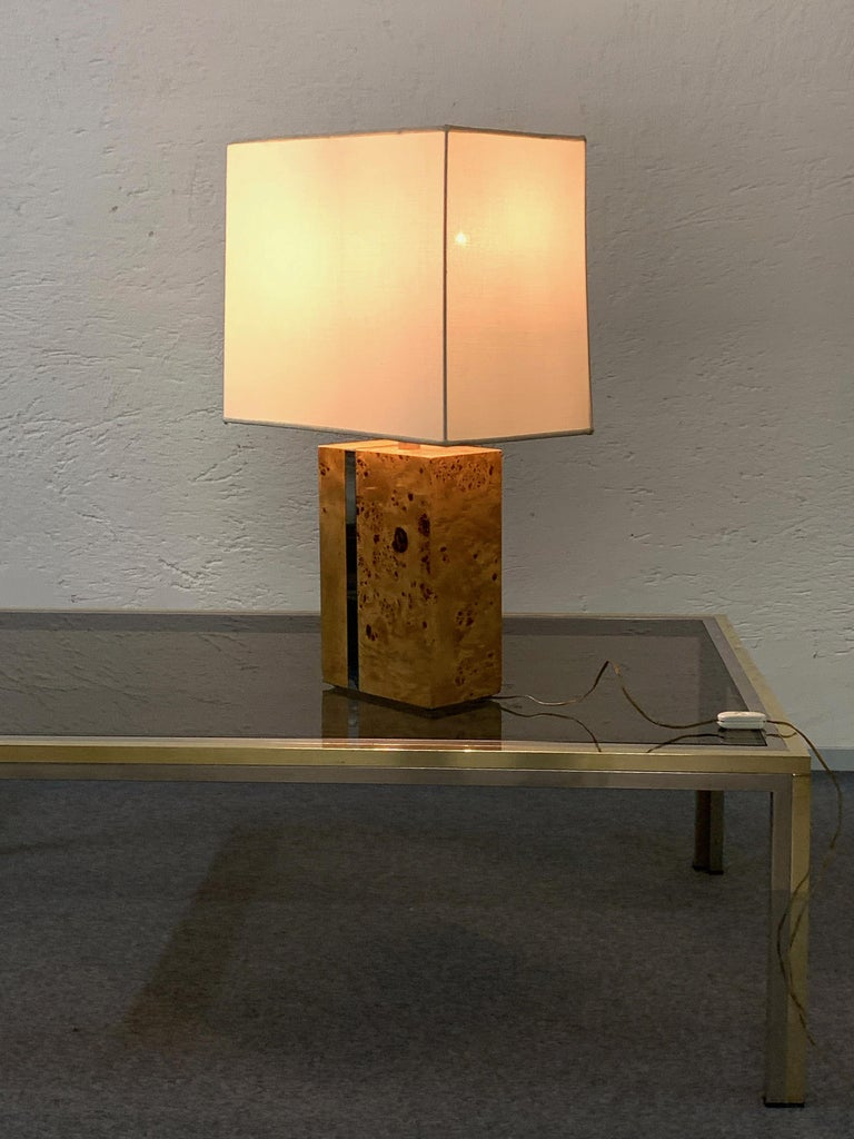 Tommaso Barbi Midcentury Poplar Briar and Chrome Italian Table Lamp, 1970s For Sale 11