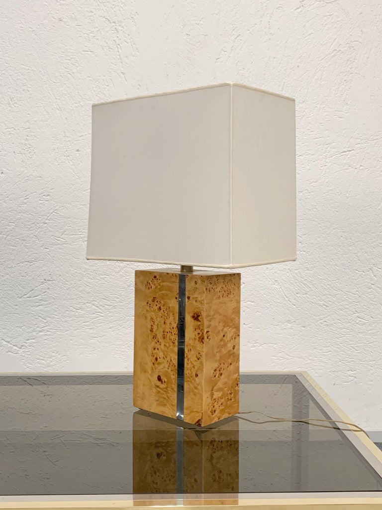 Italian table lamp by Tommaso Barbi with original label. Produced in Italy in the 1970s.  This splendid lamp is made of poplar briar and mounts two bulbs with E 27 attachment.  The base measures: 20 x 12 x 30 cm. of height.  The total size