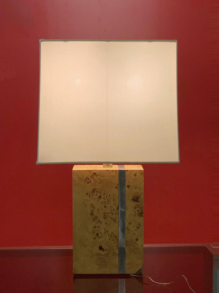 Late 20th Century Tommaso Barbi Midcentury Poplar Briar and Chrome Italian Table Lamp, 1970s For Sale