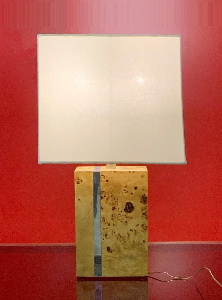 Tommaso Barbi Midcentury Poplar Briar and Chrome Italian Table Lamp, 1970s For Sale 2