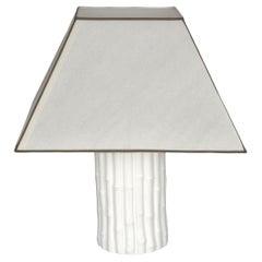 Tommaso Barbi Midcentury White Ceramic and Faux Bamboo Italian Table Lamp, 1970s