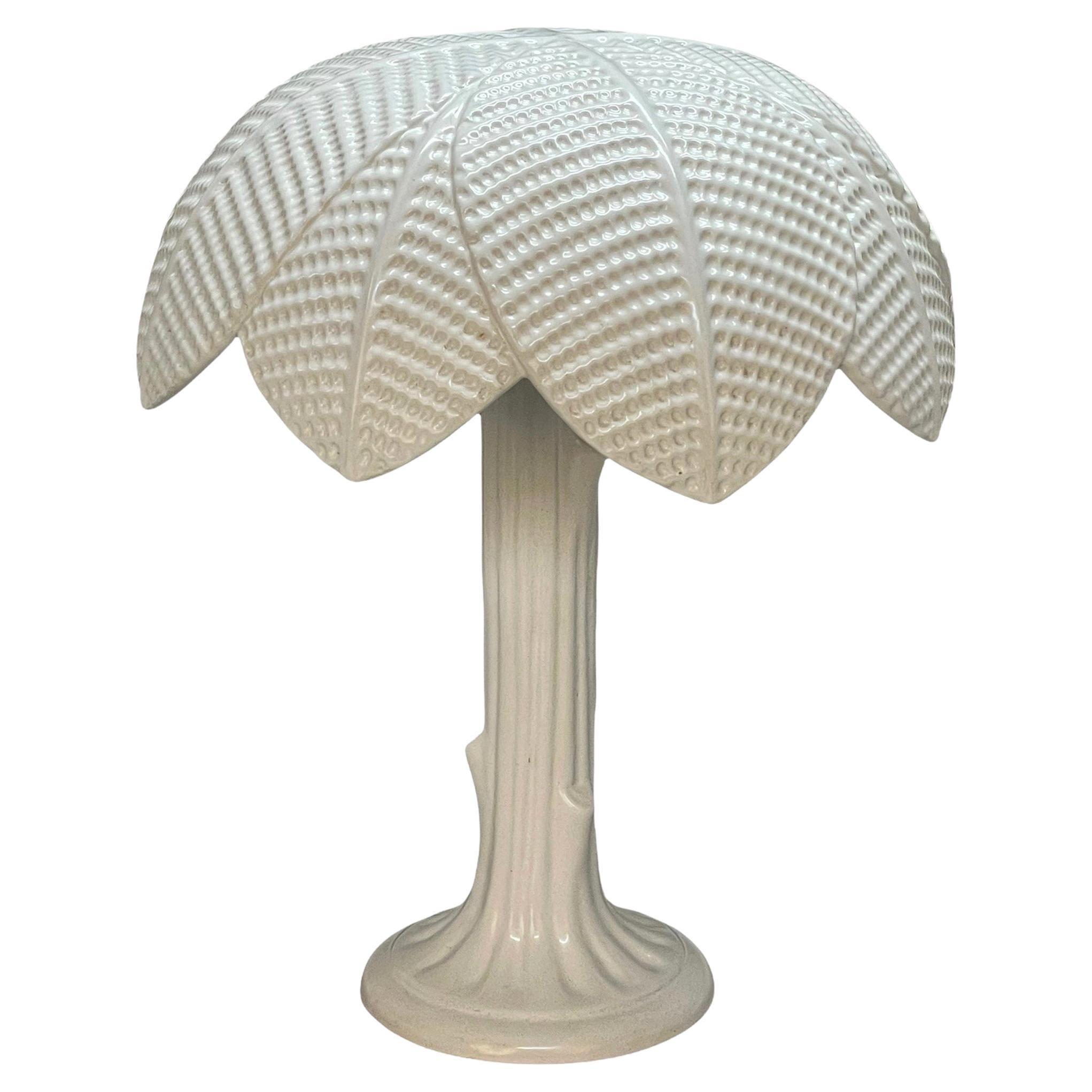 "Tommaso Barbi Midcentury White Glazed Ceramic ""Palma"" Italian Table Lamp, 1970"