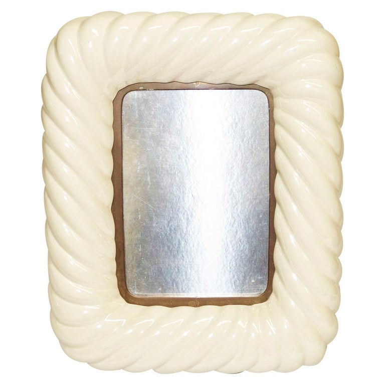 Tommaso Barbi off-white porcelain ceramic and brass picture frame With 4.75