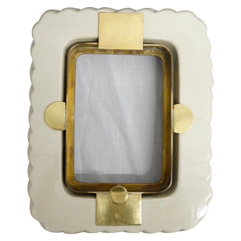 Italian Tommaso Barbi off White Porcelain Ceramic and Brass Picture Frame For Sale