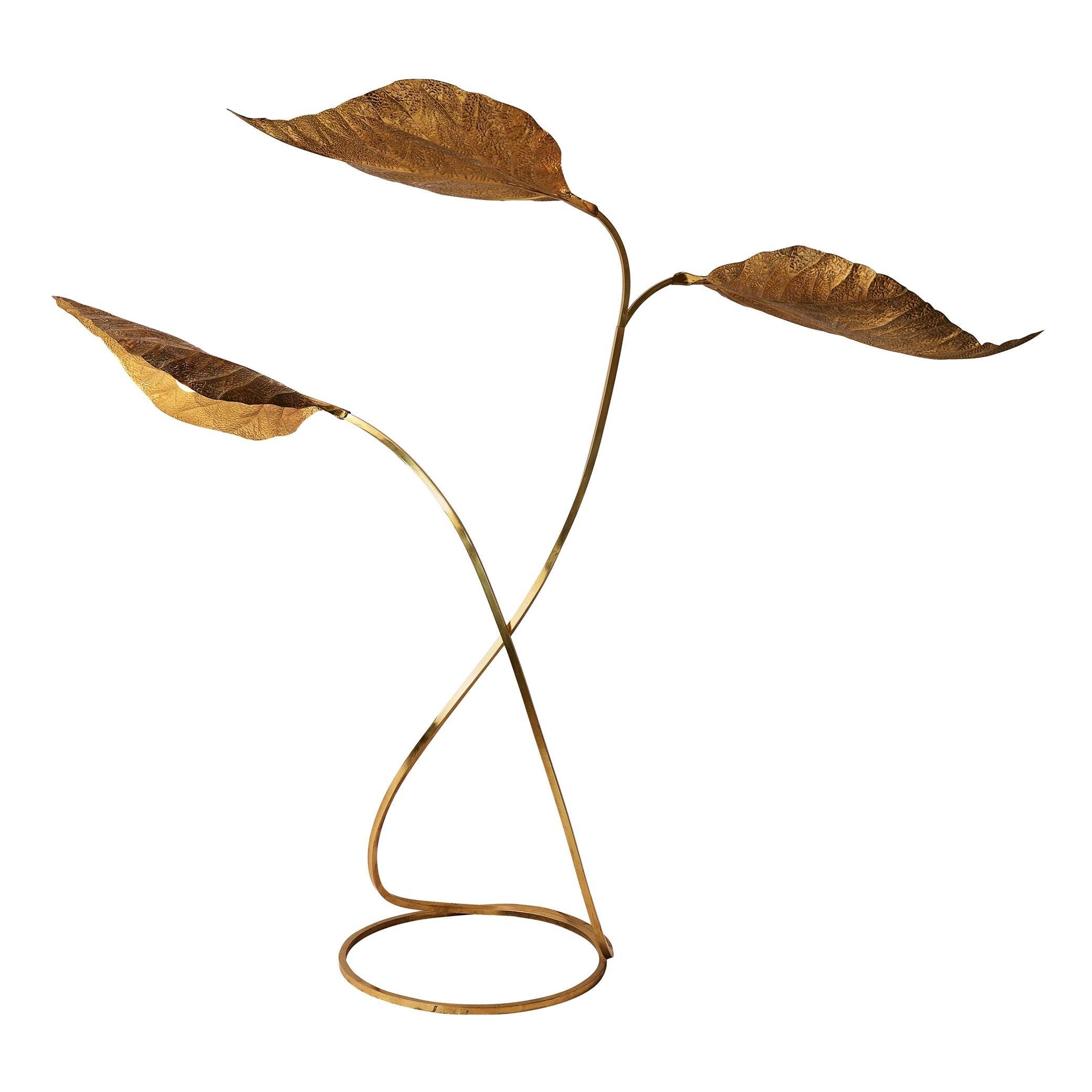 Tommaso Barbi Organic Leaf Floor Lamp in Brass