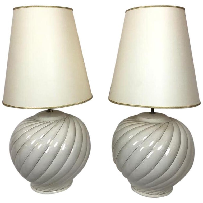 Tommaso Barbi Pair Of Cream Ceramic Table Lamps And Shades For Sale