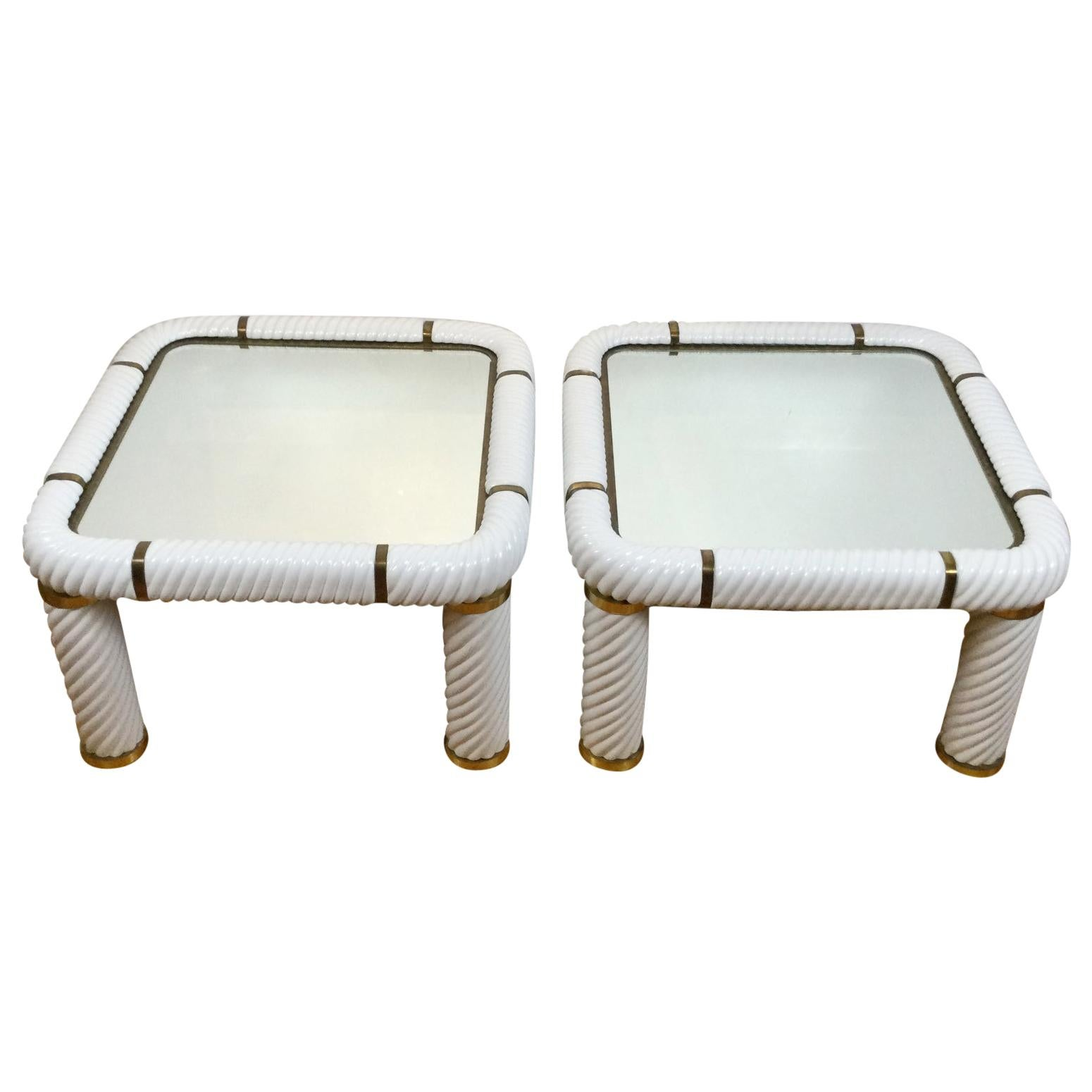 Tommaso Barbi Pair of Mirrored Coffee Tables with Fine Ceramic and Brass Finish
