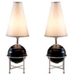 Tommaso Barbi Pair of Table Lamps Chromed Metal and Glass, 1980s