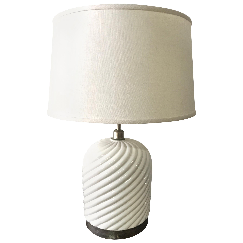 Tommaso Barbi Porcelain Ceramic and Chrome Table Lamp
