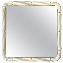 Tommaso Barbi Porcelain Wall Mirror with Brass