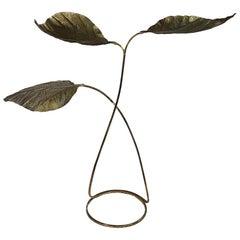 Tommaso Barbi Rare 3-Leaf Rhubarb Brass Floor Lamp