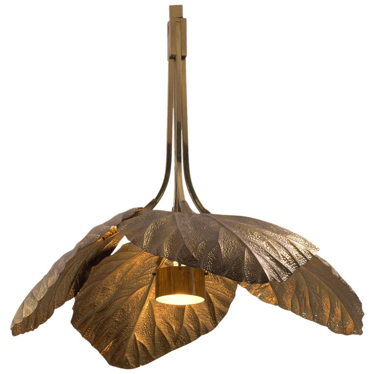 Tommaso Barbi Rhubarb Leaf Brass Chandelier For Sale