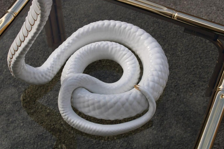 Tommaso Barbi sculpture cobra snake white gold ceramic Italian design, 1970s.