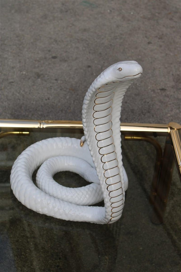 Late 20th Century Tommaso Barbi Sculpture Cobra Snake White Gold Ceramic Italian Design, 1970s For Sale