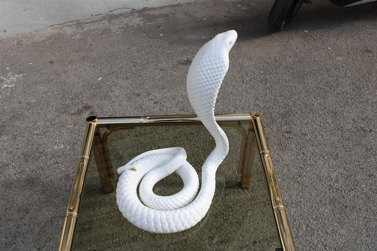 Tommaso Barbi Sculpture Cobra Snake White Gold Ceramic Italian Design, 1970s For Sale 2