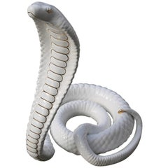 Tommaso Barbi Sculpture Cobra Snake White Gold Ceramic Italian Design, 1970s