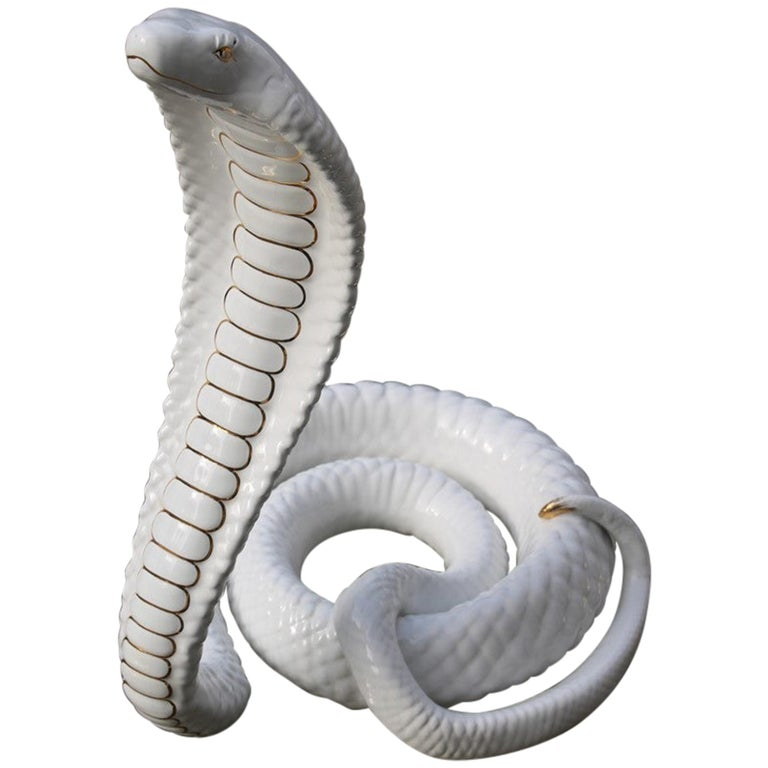 Tommaso Barbi Sculpture Cobra Snake White Gold Ceramic Italian Design, 1970s For Sale