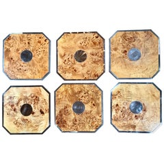Tommaso Barbi Set of 6 Octagonal Plates/Tablemat in Wood and Chrome, Italy