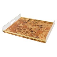 Tommaso Barbi Style 1970s Lucite and Burl Wood Barware Tray