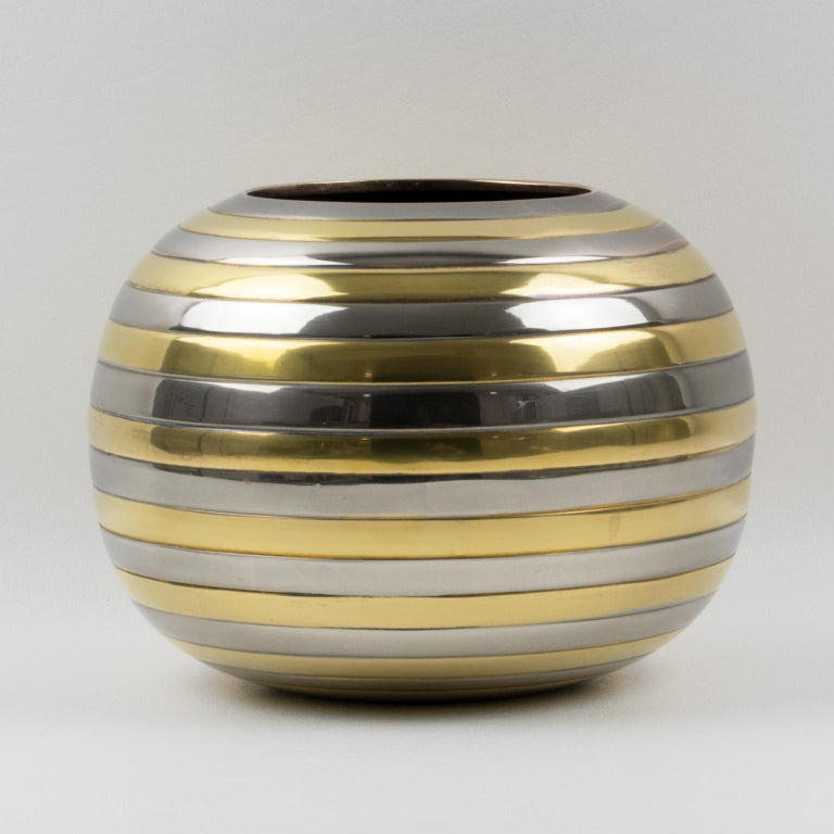 Mid-Century Modern Tommaso Barbi Style Chrome and Brass Striped Vase For Sale