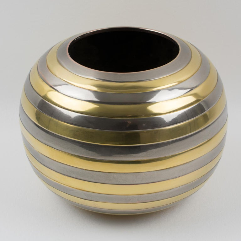 Italian Tommaso Barbi Style Chrome and Brass Striped Vase For Sale