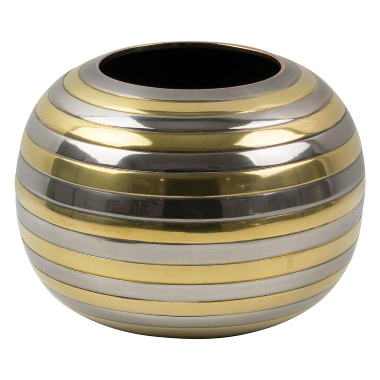 Tommaso Barbi Style Chrome and Brass Striped Vase For Sale