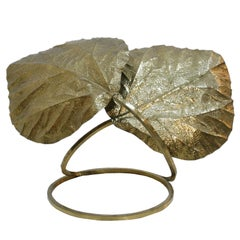 Tommaso Barbi Table Lamp Composed of Leaves Made in Brass, Italy, 1970s