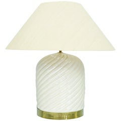 Tommaso Barbi Table Lamp in Ceramic and Brass, Italy, 1970s