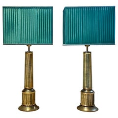 Tommaso Barbi Table Lamps in Marble and Brass, 1972