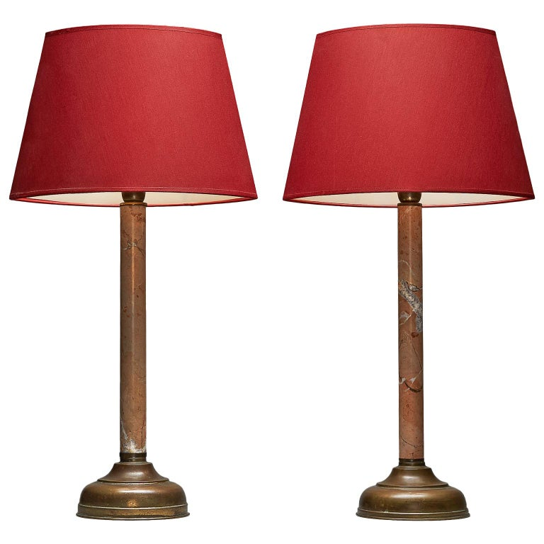 Tommaso Barbi Table Lamps Marble and Brass For Sale