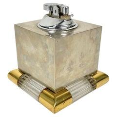 Tommaso Barbi Table Lighter in Brass, Murano Glass and Steel, Italy, 1970s